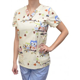 Pracovná košeľa - VZOR - veľké sovičky